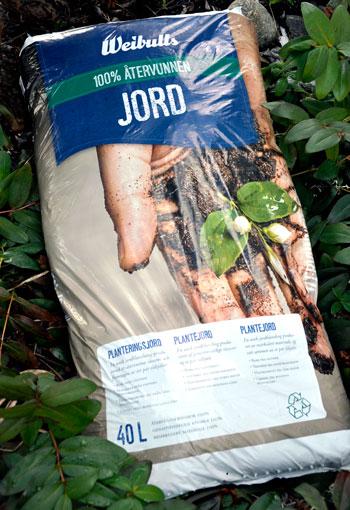40 liters jordsäck med 100 procent återvunnen jord